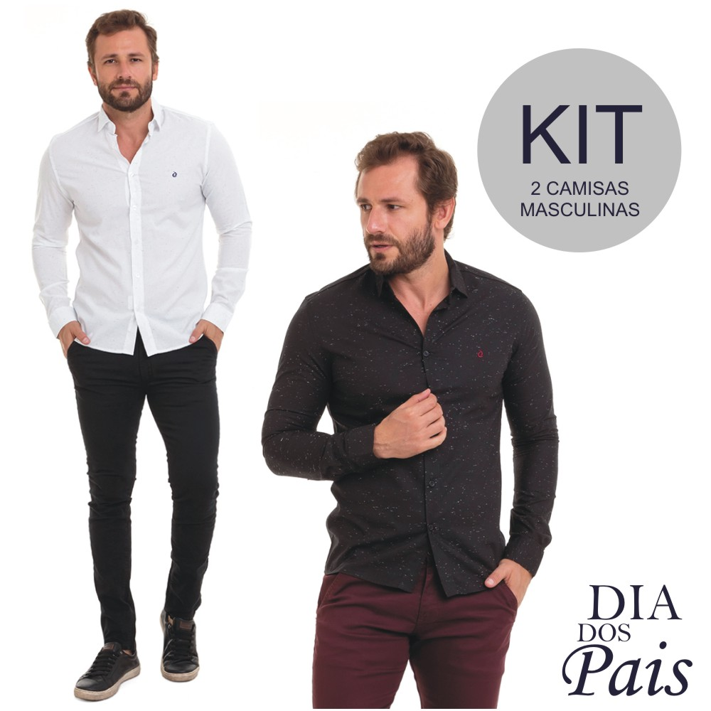 Camisa Masculina Slim Manga Longa Kit C/2 Conexão