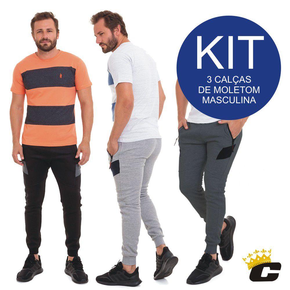 Kit c/3 Calça  de Moletom Jogger Masculina Conexão