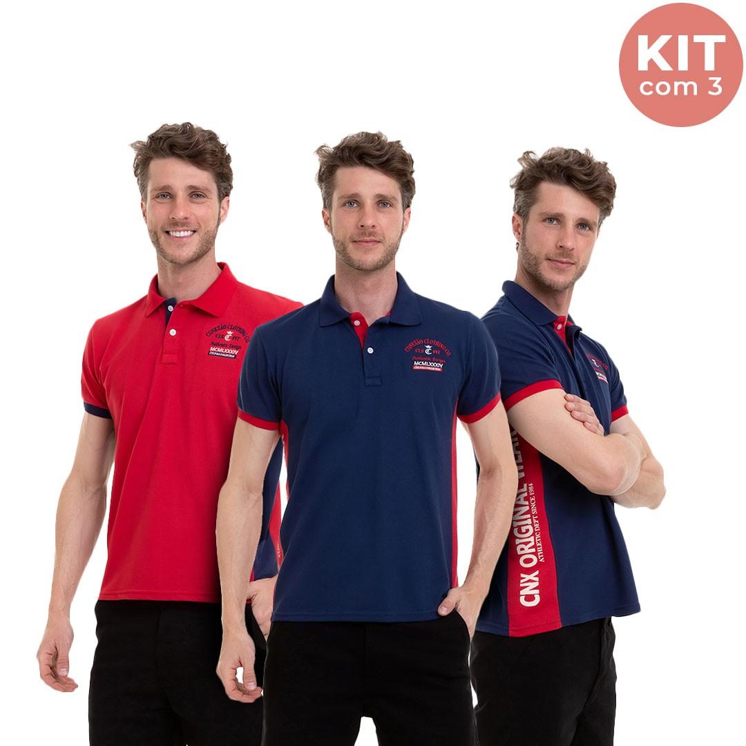 Kit C/3 Camisa Masculina Manga Curta Polo Recorte Lateral Conexão