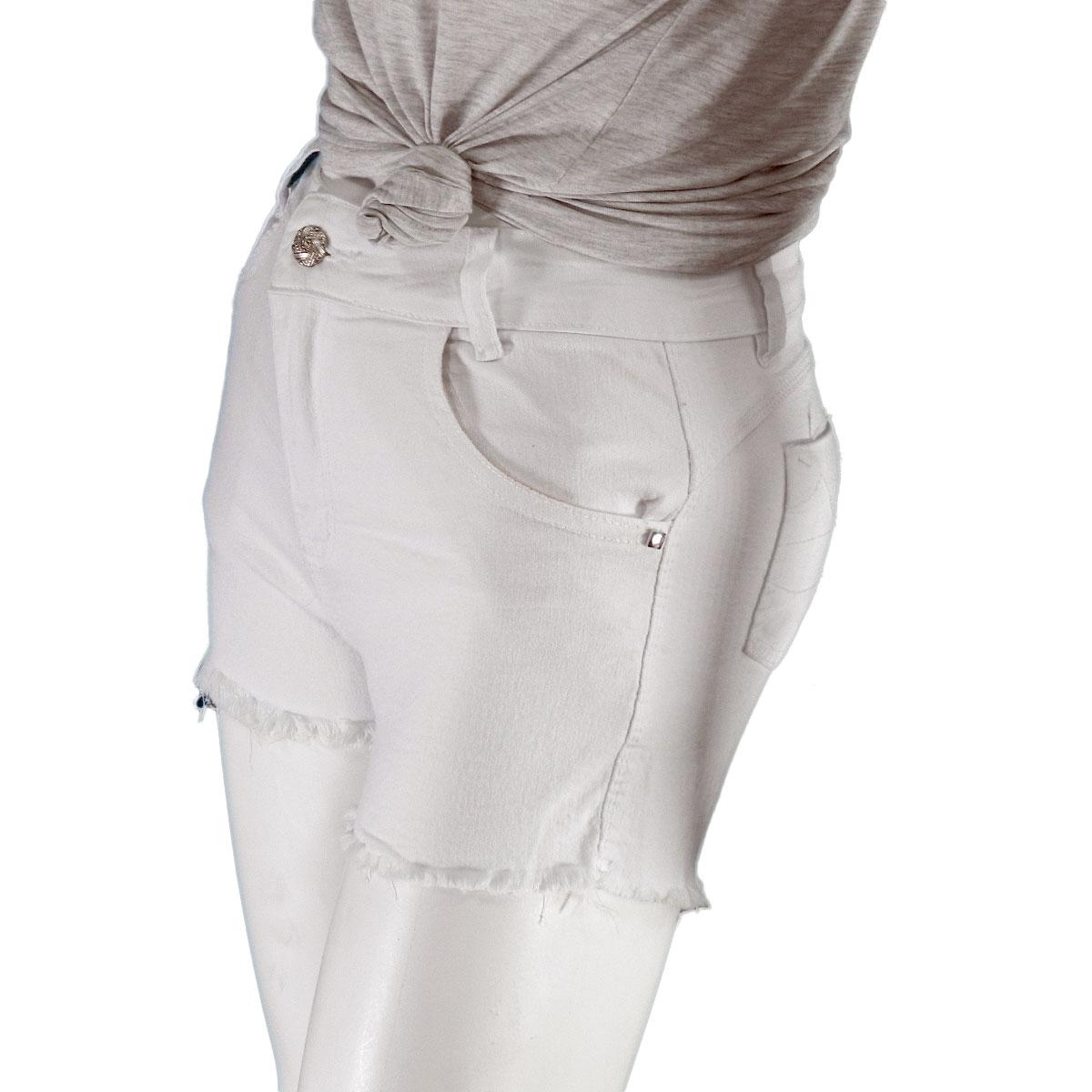 Shorts Feminino  Jeans Branco Desfiado