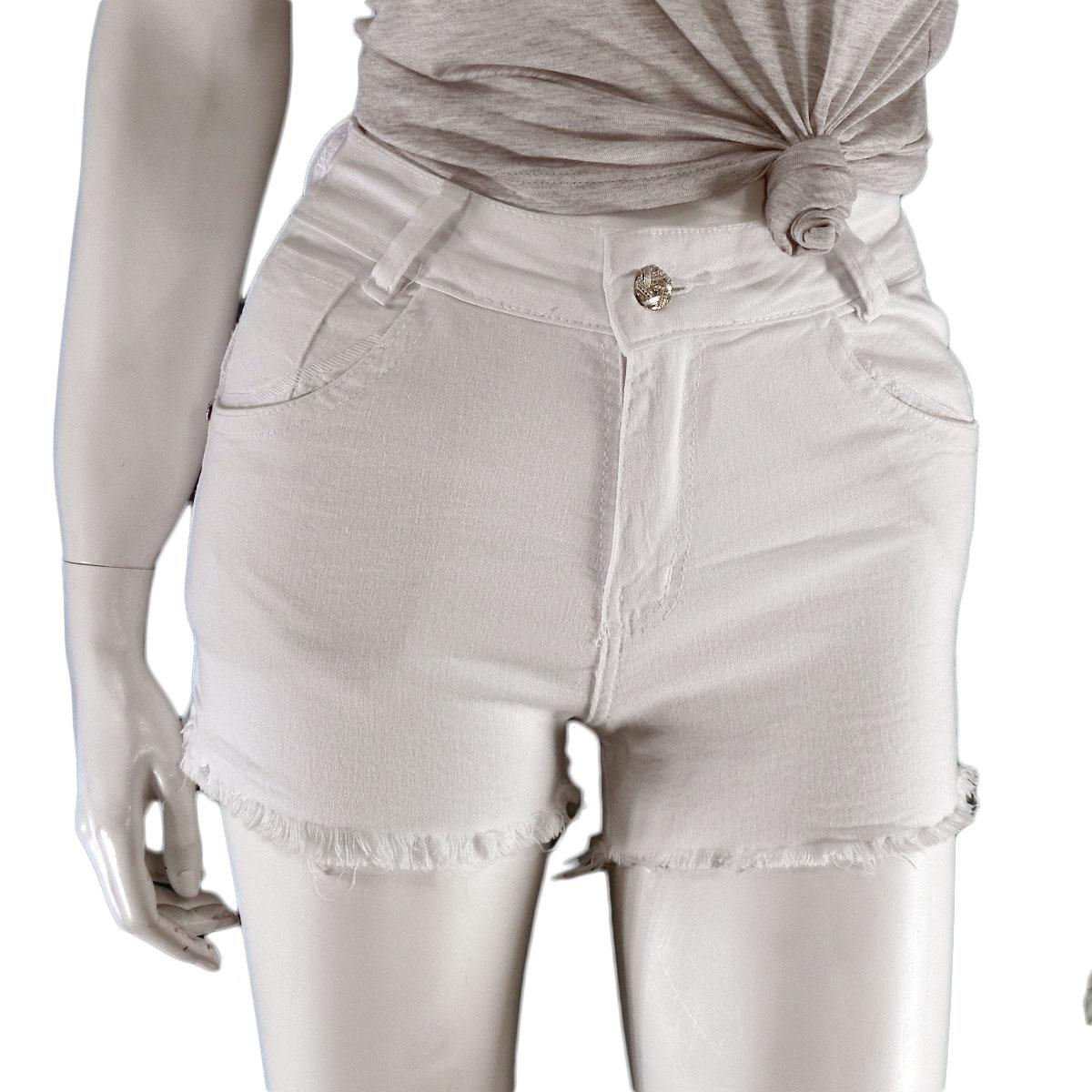 Shorts Feminino  Jeans Branco Desfiado Lançamento Verão Conexão