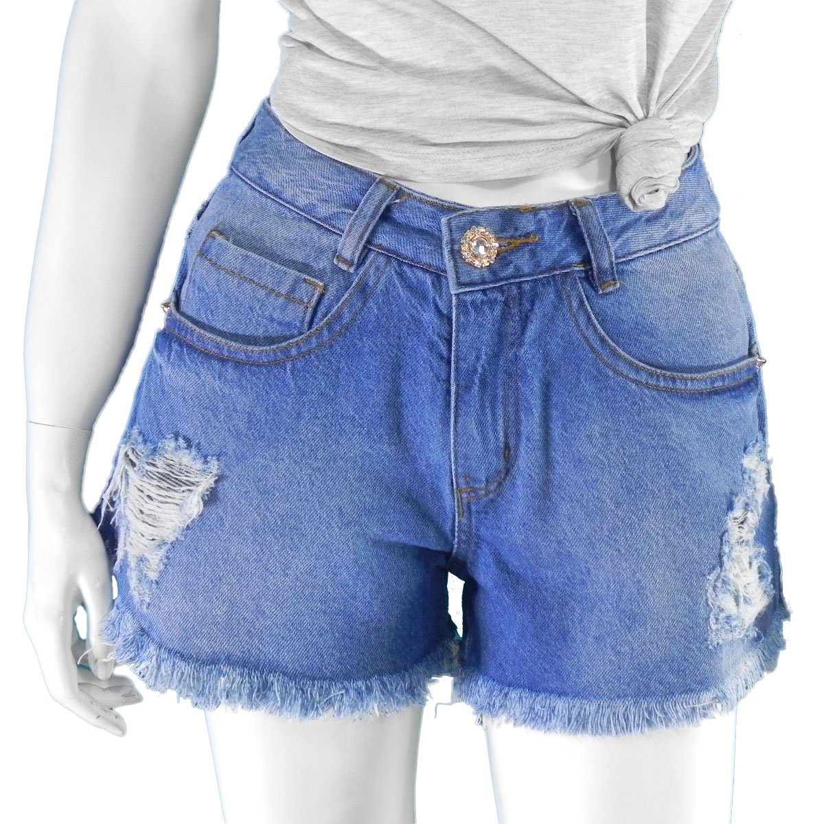 Shorts Jeans Cintura Alta Feminino Desfiado Lançamento Conexão