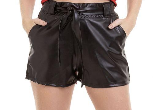Shorts Feminino Couro Ecológico Cintura Alta Blogueira Conexão