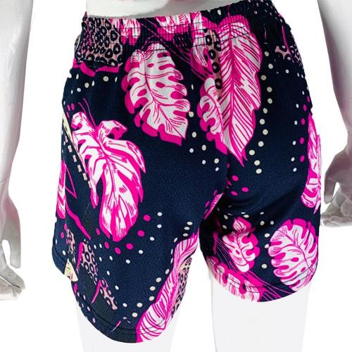 Shorts Feminino Malha Estampado Folhagem Conexão