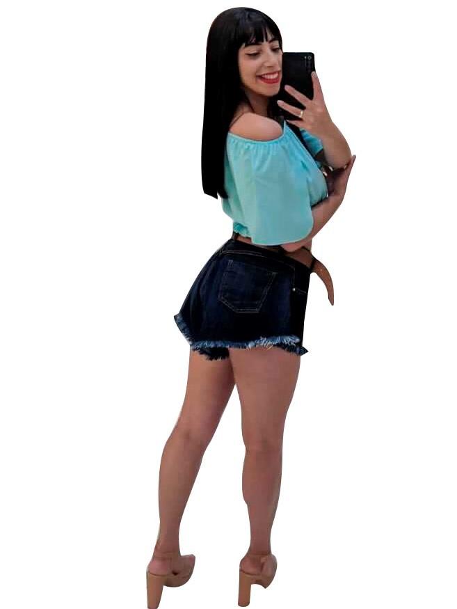 Shorts Jeans Godê Desfiado Moda Blogueira Lançamento Conexão