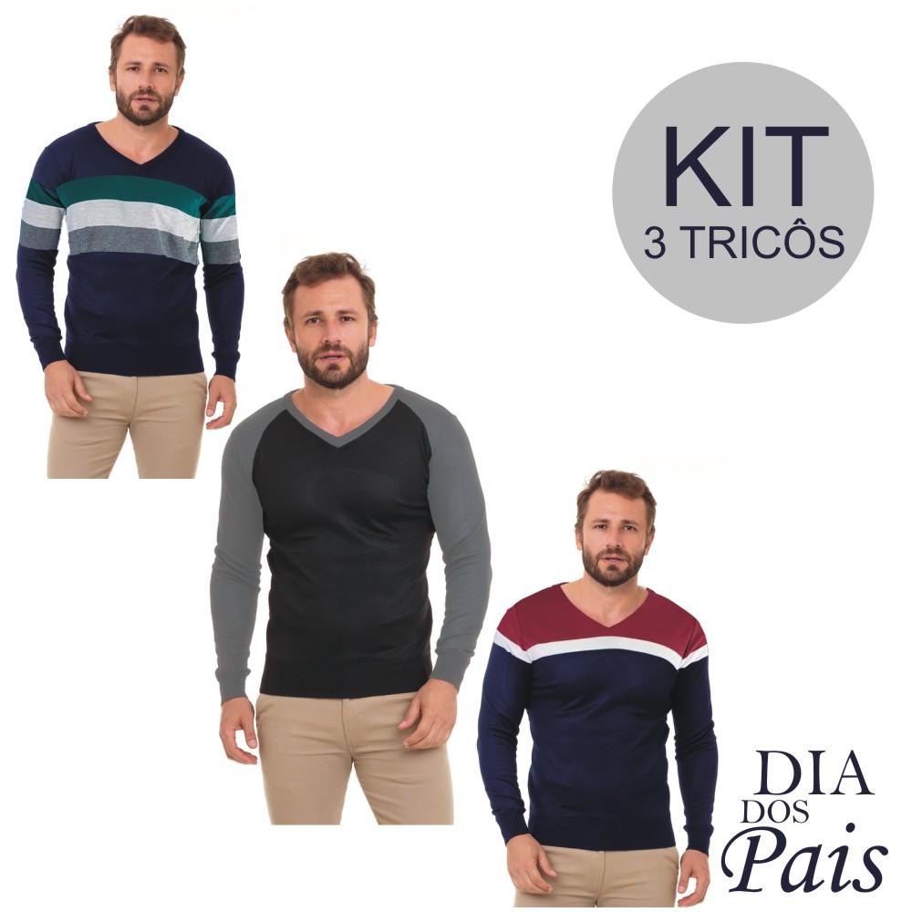 Kit C/ 3  Blusa Masculina Suéter Tricô Inverno Conexão