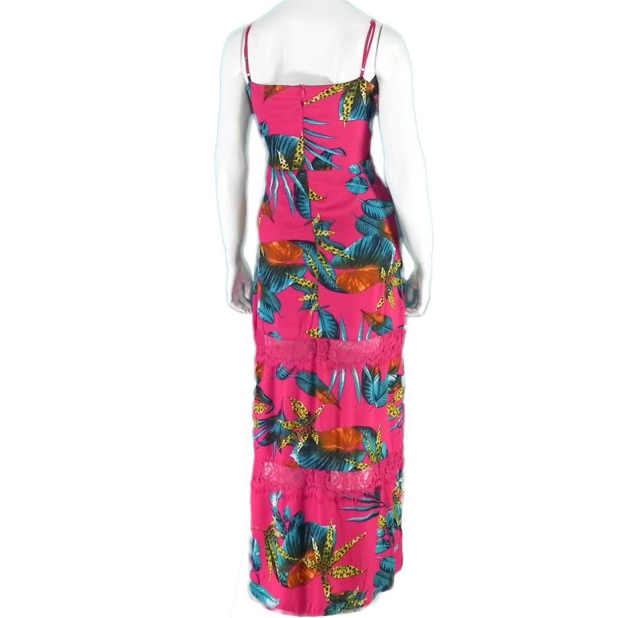 Vestido Longo Floral Alças Com Renda Conexão