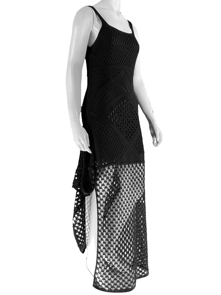 Vestido Feminino Longo Tricot  Rendado Conexão