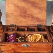 Caixas - c / especiarias - madeira - NÃO personalizada