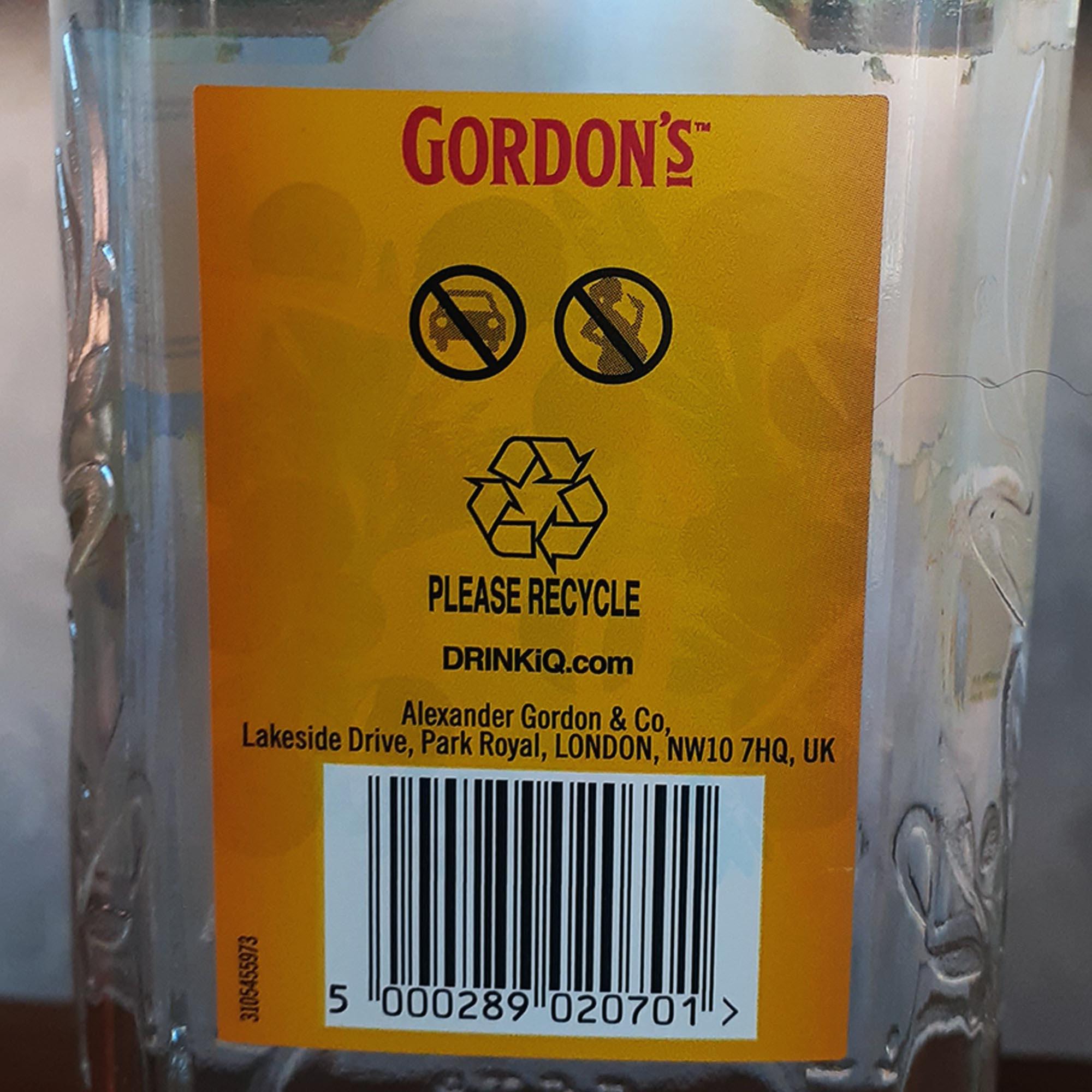 Gin - Gordons - 750 ml  - DRUNK DOG DELIVERY