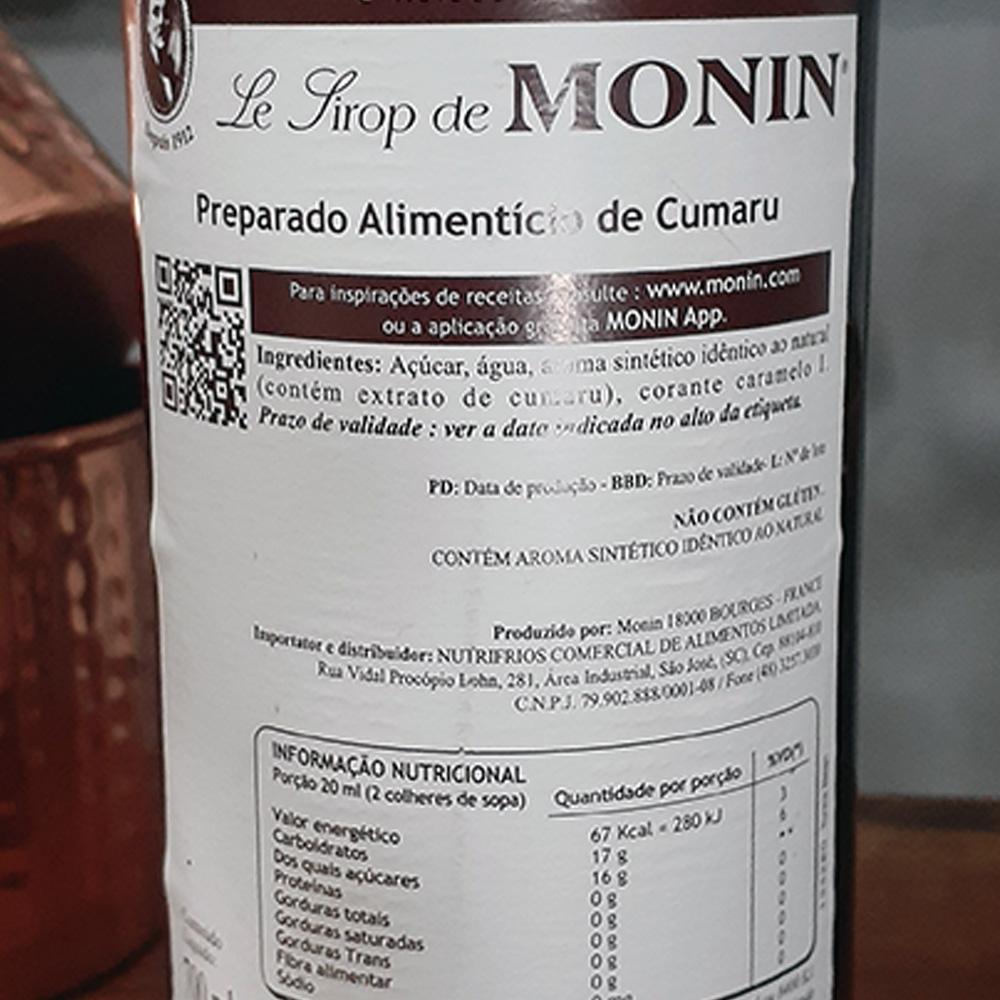 Xarope - Monin - Cumaru - 700 ML  - DRUNK DOG DELIVERY