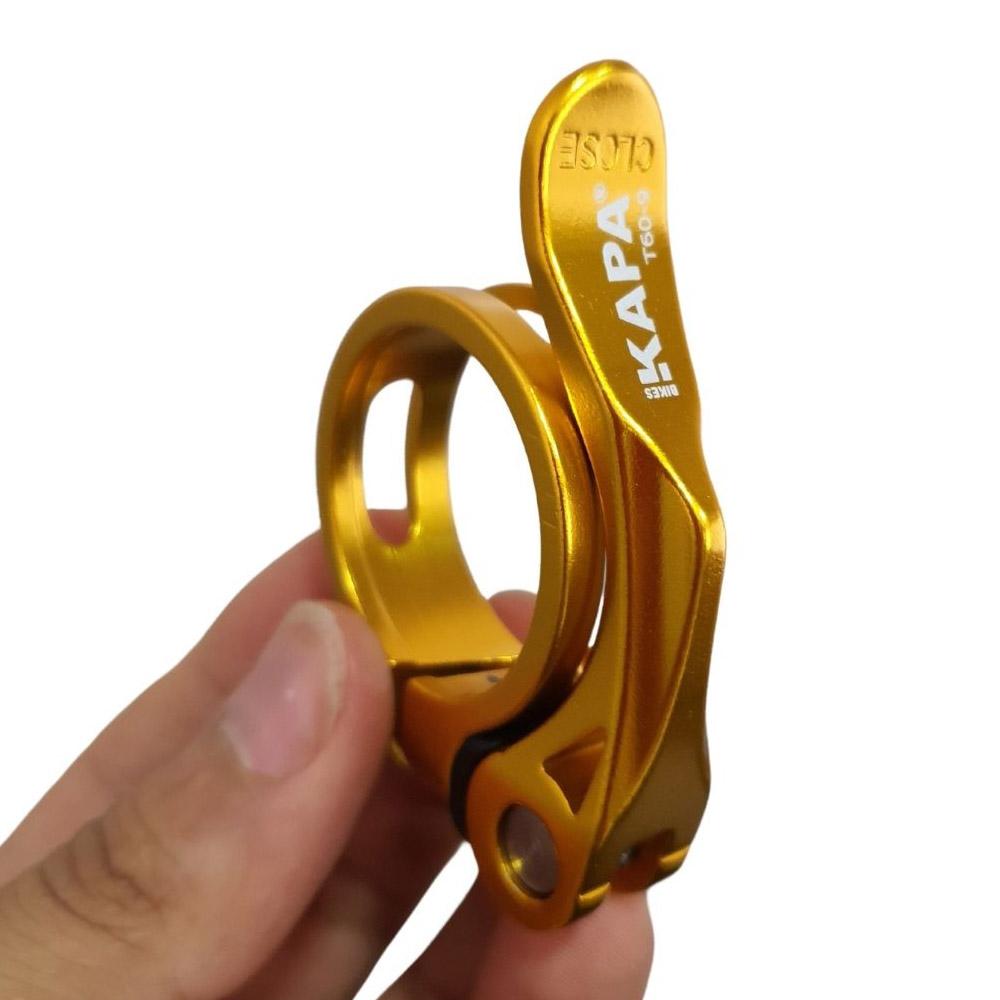 Abraçadeira Selim Kapa Alumínio 34,9 Mm C/Blocagem Dourado