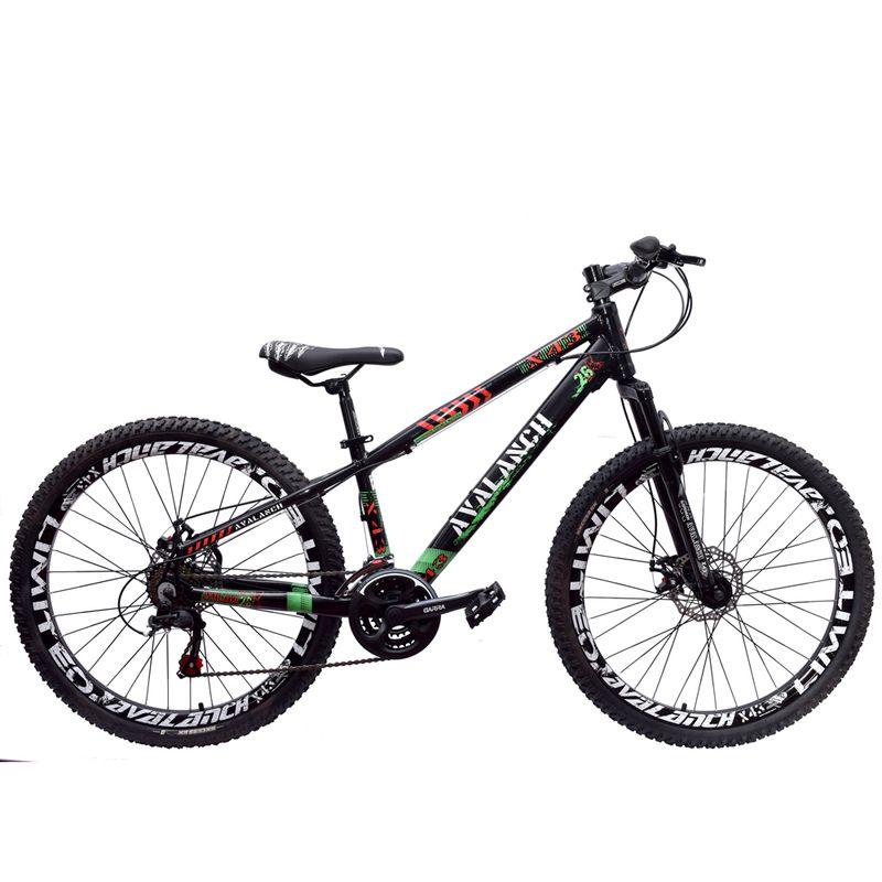 Bicicleta 26 Avalanch X-43 de 21v Freio a Disco Preto Verde Vermelho