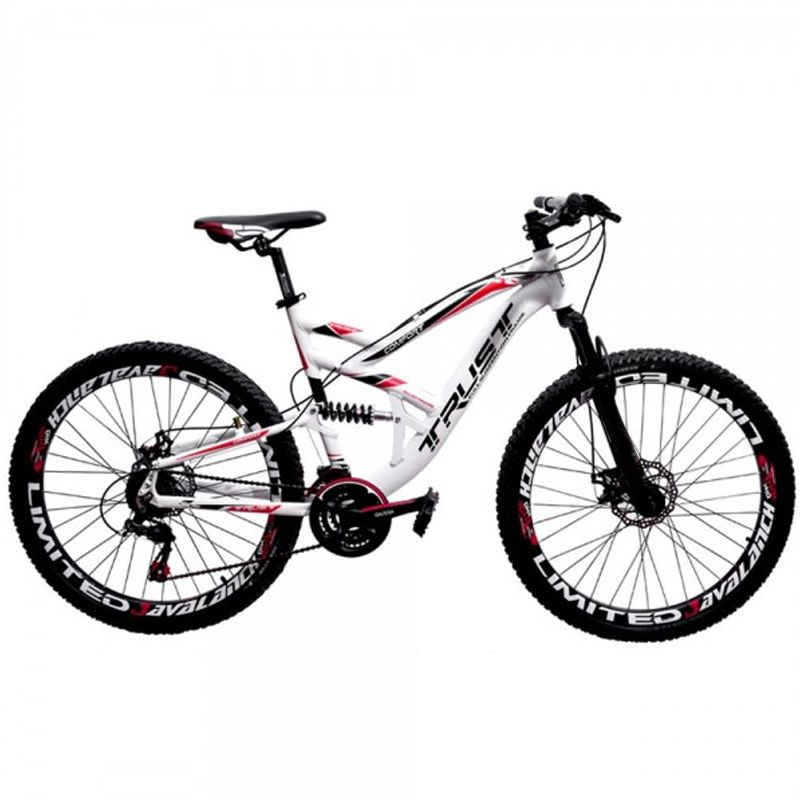 Bicicleta 26 Trust Full 21 Marchas Freio a Disco Branca