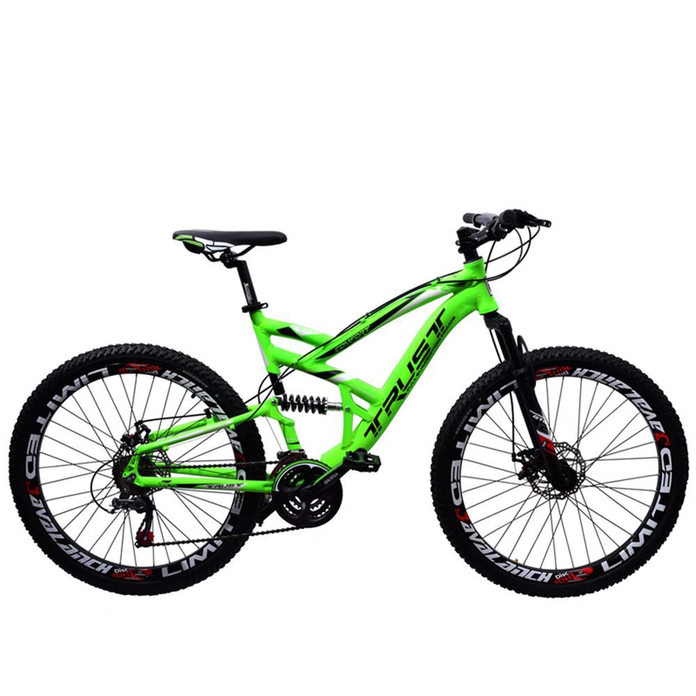 Bicicleta 26 Trust Full 21 Marchas Freio a Disco Verde