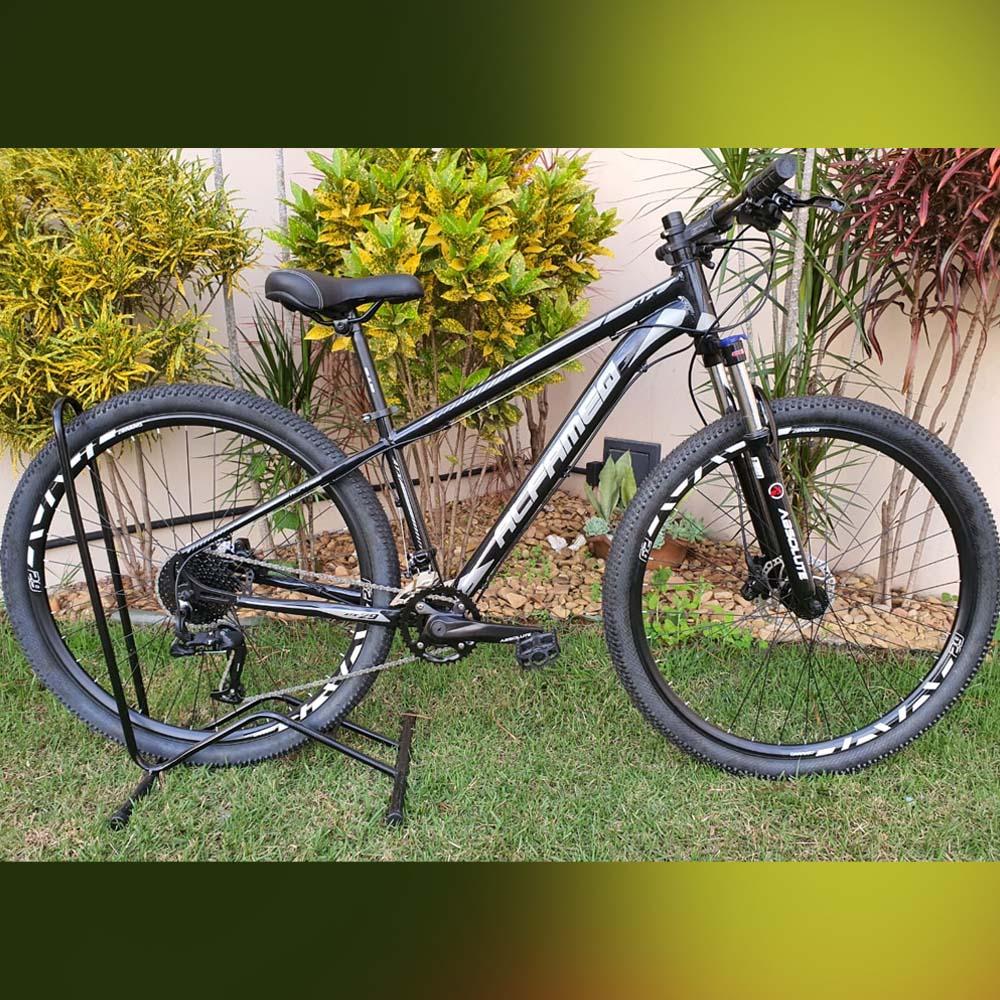 Bicicleta 29 AlfameQ ATX 18 Velocidades Freios GTS Preto e Cinza Tam. 15