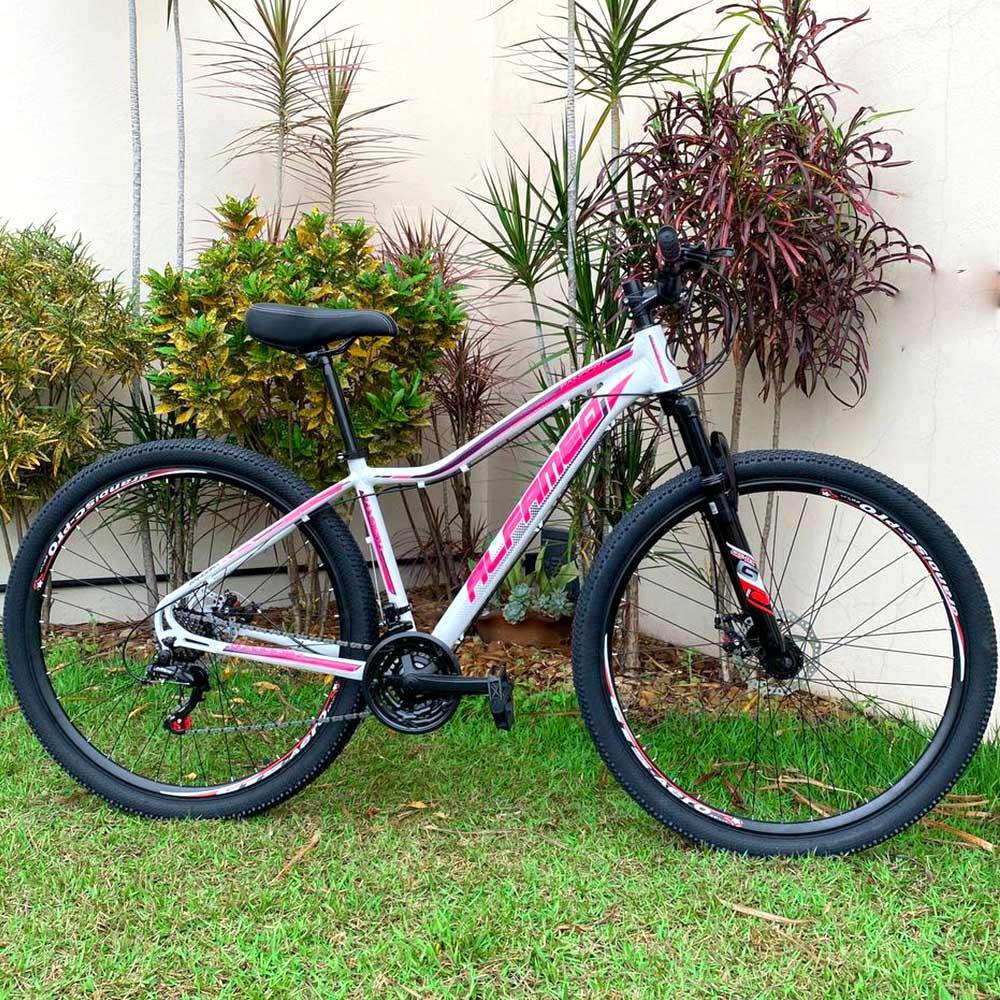 Bicicleta 29 Alfameq Pandora 21 Velocidades Freios Disco Tam. 17 Branco e Rosa