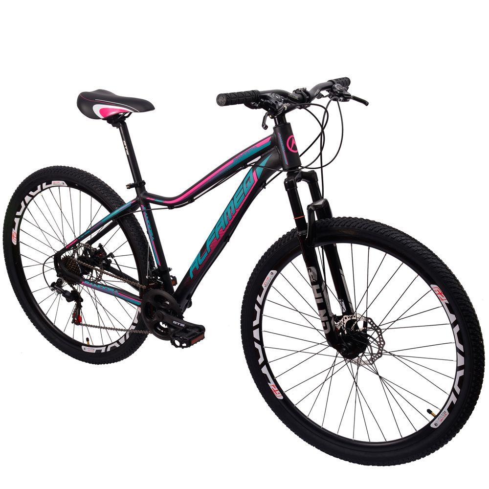 Bicicleta 29 Alfameq Pandora Feminina 21 Marchas preto fosco verde rosa
