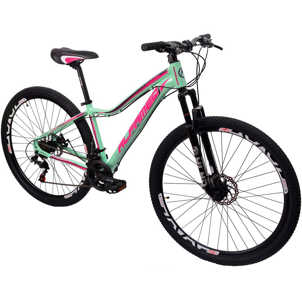 Bicicleta 29 Alfameq Pandora Feminina 21 Marchas Verde Rosa