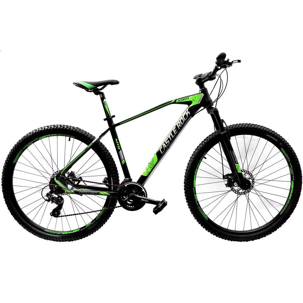 Bicicleta 29 Castle Rock Shimano 24v Preto e Verde Tamanho 19