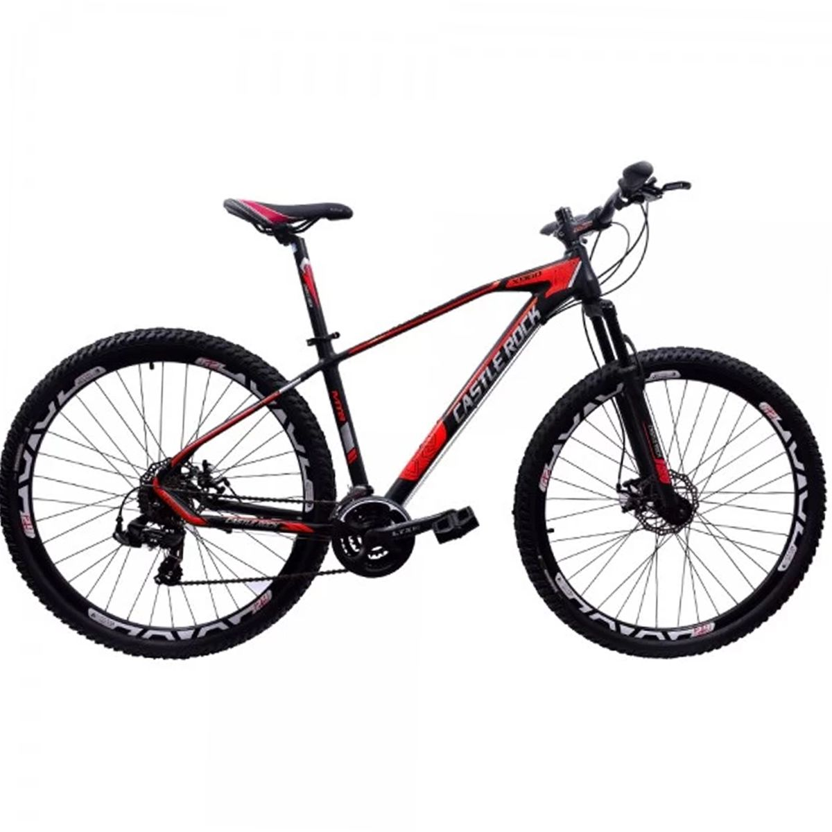 Bicicleta 29 Castle Rock Shimano 24v Preto e Vermelho tamanho 17