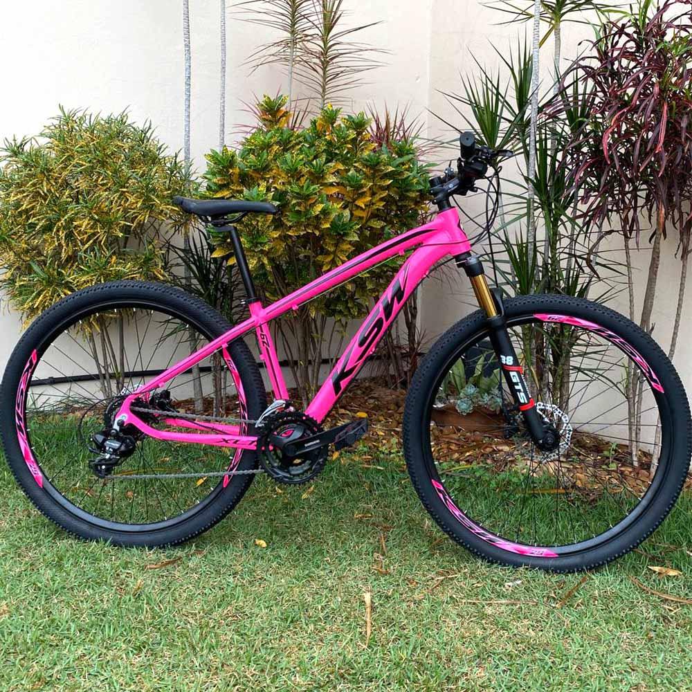 Bicicleta 29 Feminina KSW 24 Velocidades Freios/Hid. Rosa e Preto