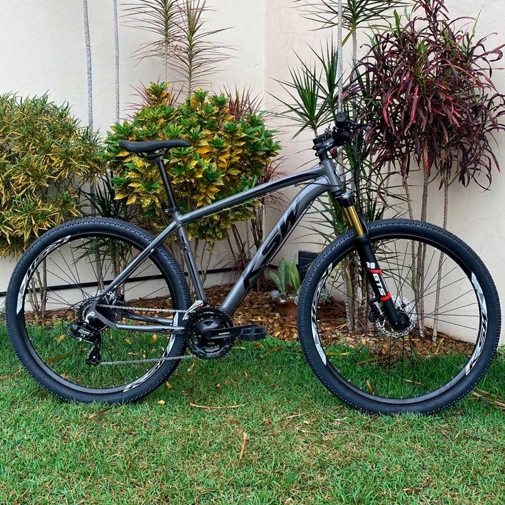 Bicicleta 29 KSW 24 Velocidades Shimano Freios/Hidráulicos Cinza e Preto