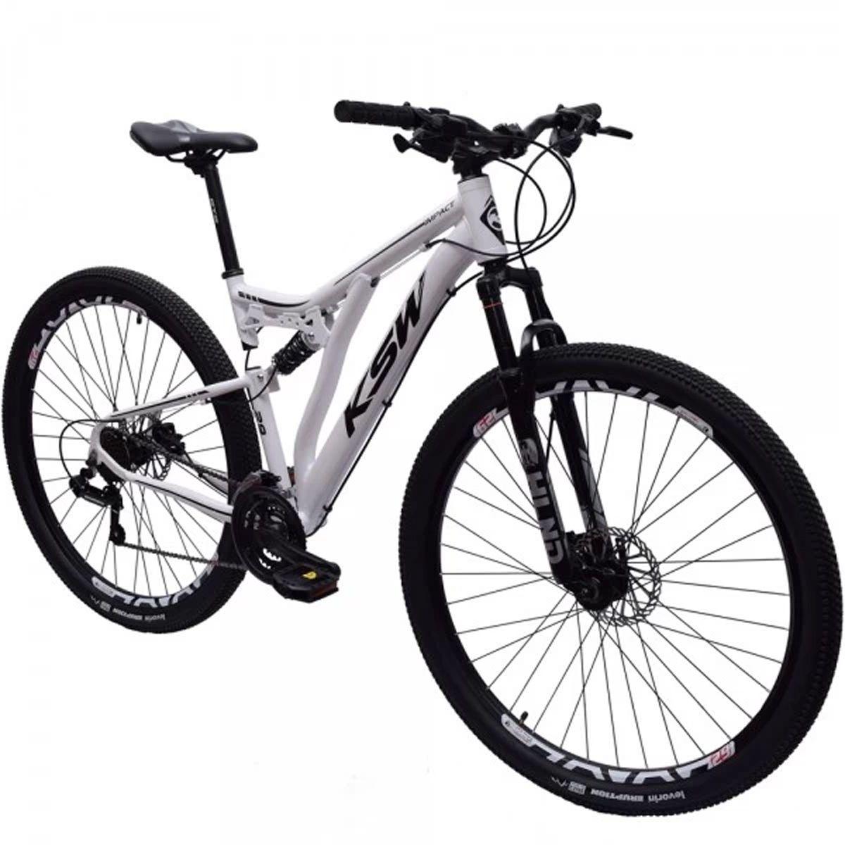 Bicicleta 29 Ksw Full 21v Shimano Freio Hidráulico 19 Branca