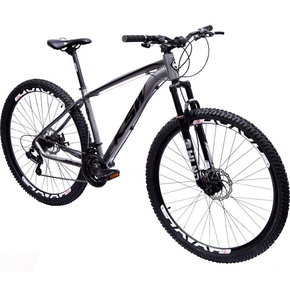 Bicicleta 29 KSW XLT Shimano 21 velocidades Tamanho 17 Cinza