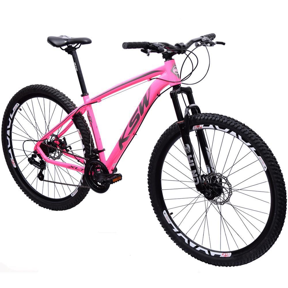 Bicicleta 29 KSW XLT Shimano 21 velocidades Tamanho 17 Rosa