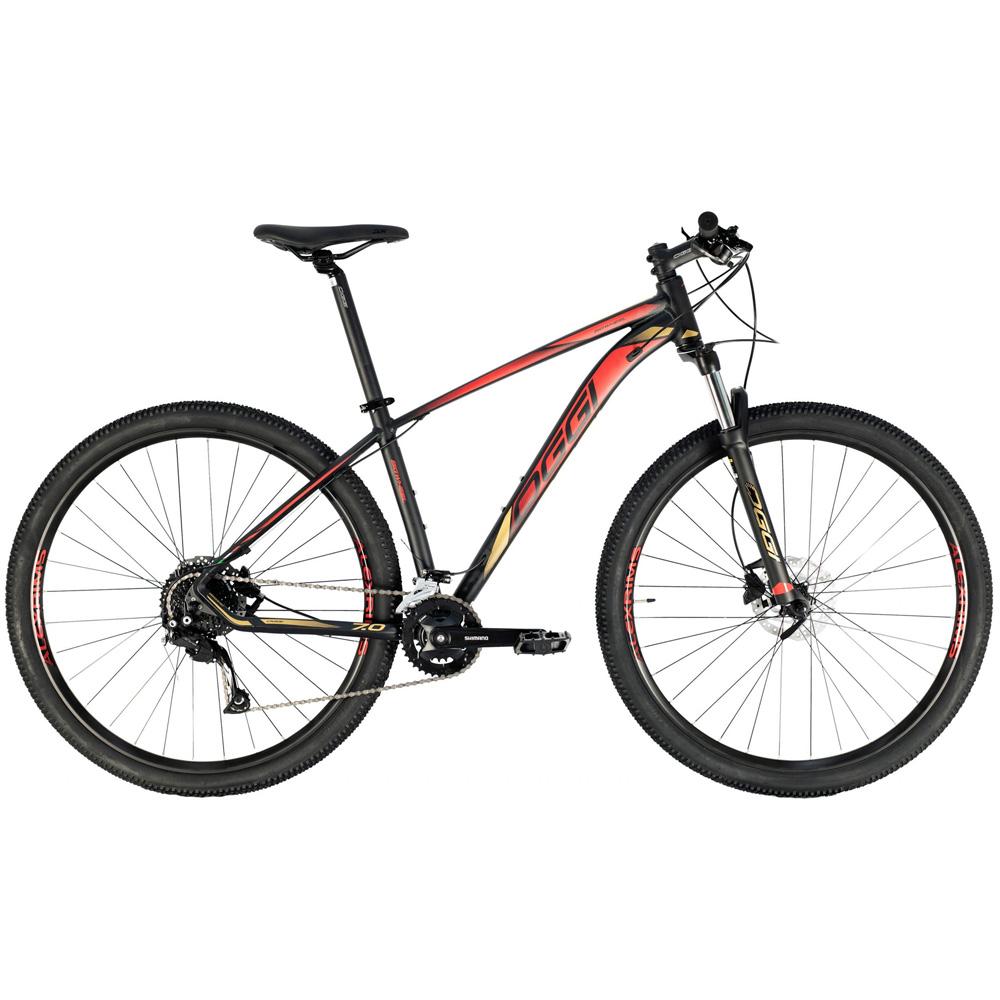 Bicicleta 29 Oggi Big Wheel 7.0 18 Velocidades 2021 Shimano Preto e Dourado T 19