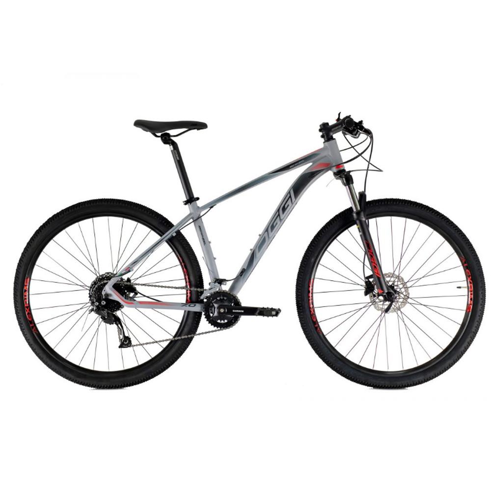 Bicicleta 29 Oggi Big Wheel 7.0 18V 2021 Shimano Grafite Preto e Vermelho T17