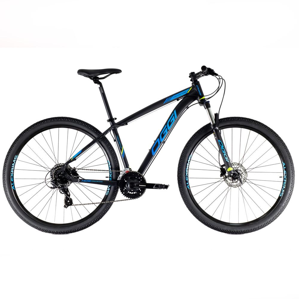Bicicleta 29 Oggi Hacker HDS Aro 29 Preto Fosco e Azul Tam. 15.5