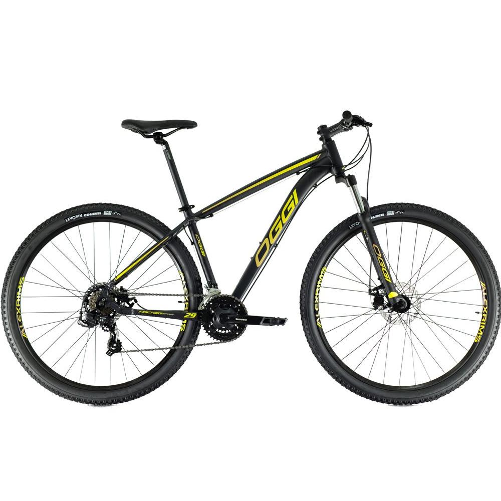 Bicicleta 29 Oggi Hacker Sport 21 Velocidades Preto e Amarelo Tam. 17