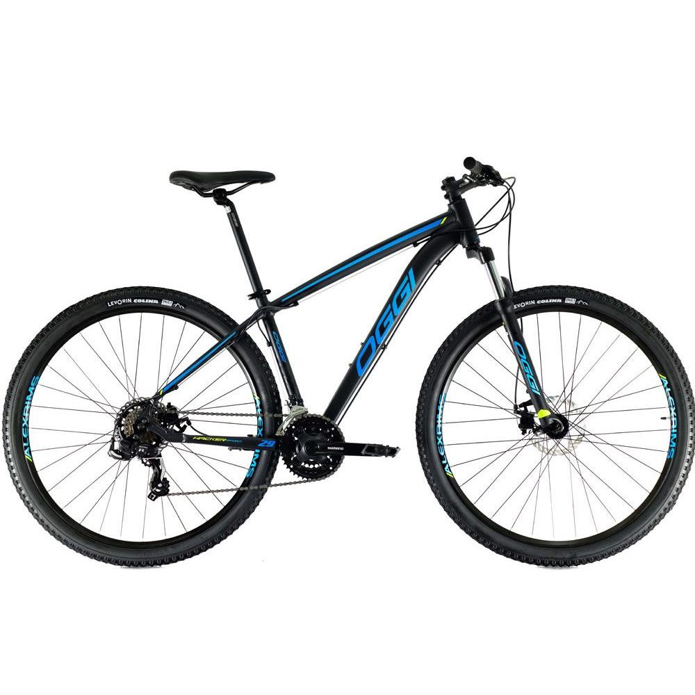 Bicicleta 29 Oggi Hacker Sport 21 Velocidades Preto e Azul Tamanho 17