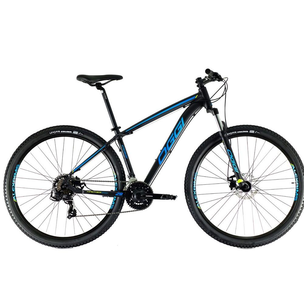 Bicicleta 29 Oggi Hacker Sport 21 Velocidades Preto e Azul Tamanho 19