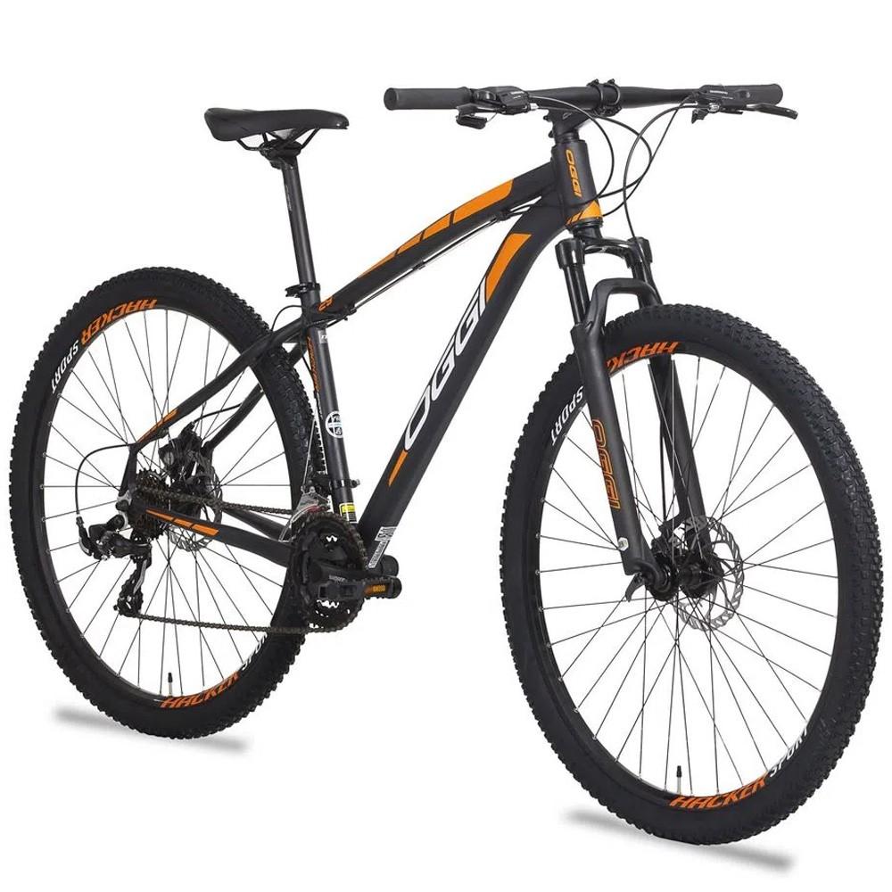 Bicicleta 29 Oggi Hacker Sport 21 Velocidades Preto e Laranja Tamanho 17