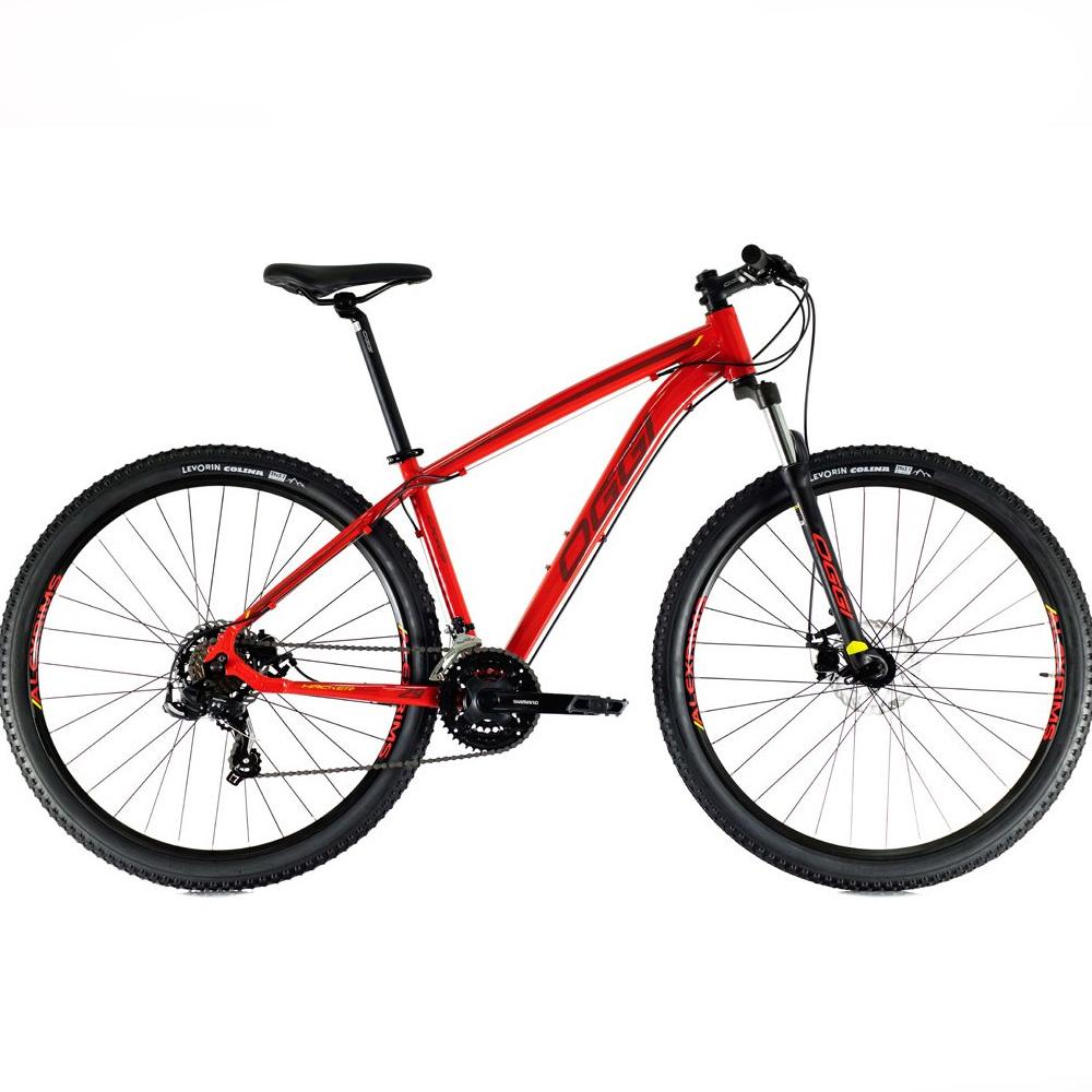 Bicicleta 29 Oggi Hacker Sport 21 Velocidades Vermelho e Preto Tamanho 15.5