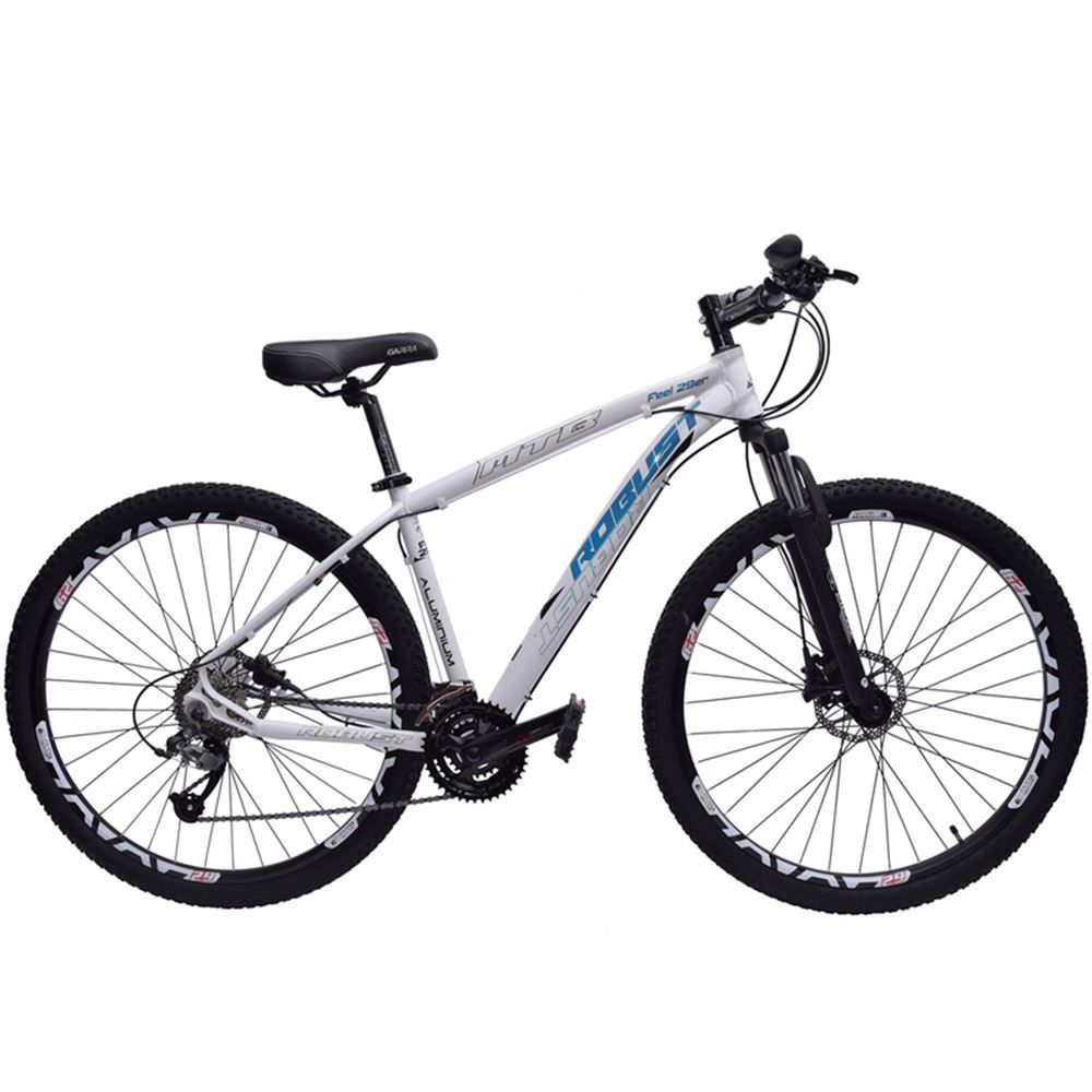 Bicicleta 29 Robust 27v Tamanho 16 Hidráulico Branca e Azul