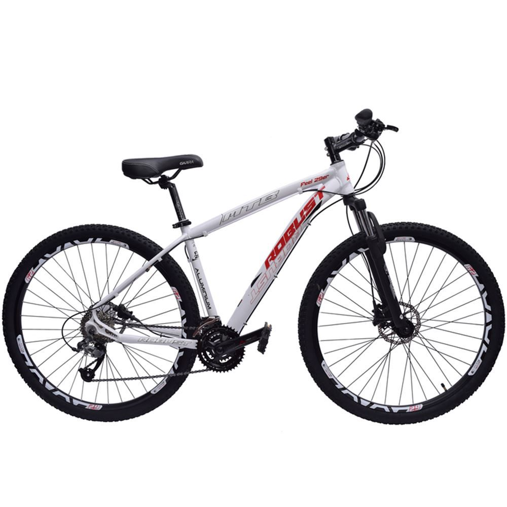 Bicicleta 29 Robust 27v Tamanho 18 Hidráulico Branca e Vermelho