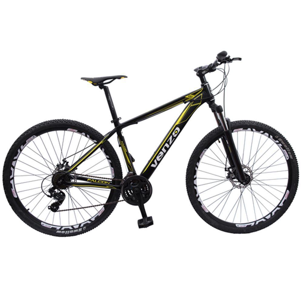Bicicleta 29 Venzo Falcon 21v Shimano Preto e Amarelo T19
