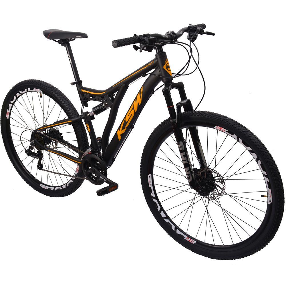 Bicicleta Alumínio KSW 29 Dupla Suspensão Preto Fosco Laranja