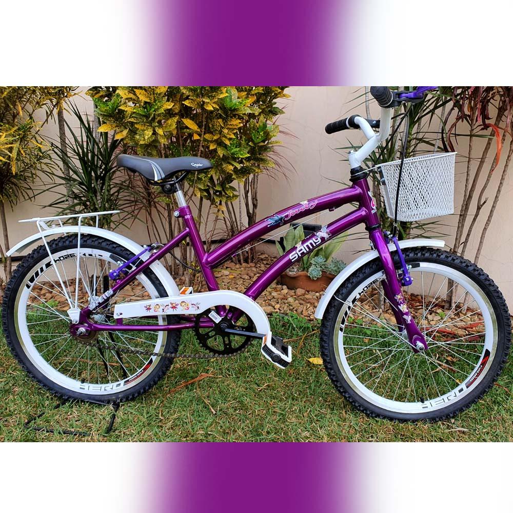 Bicicleta Aro 20 Feminina Samy C/Cestinha Violeta