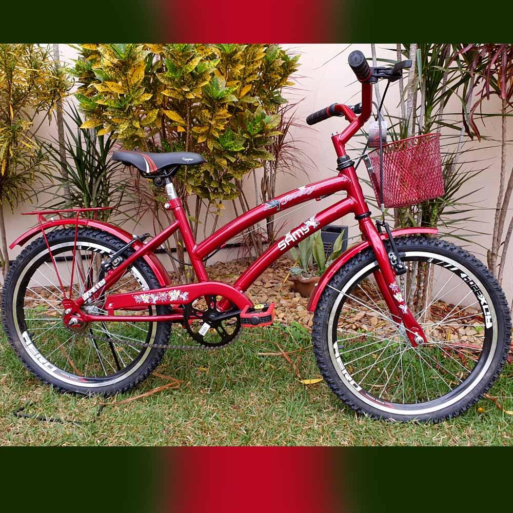 Bicicleta Aro 20 Feminina Samy Vermelha C/Cestinha