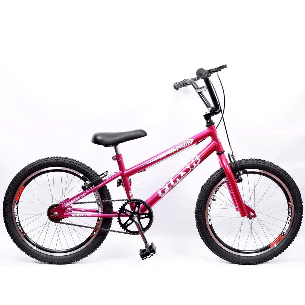 Bicicleta Aro 20 Garra Cross BMX Rosa Cromado