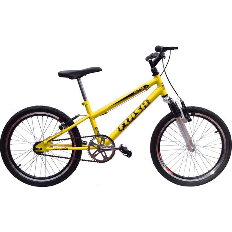 Bicicleta Aro 20 Garra Cross BMX Suspensão Amarela