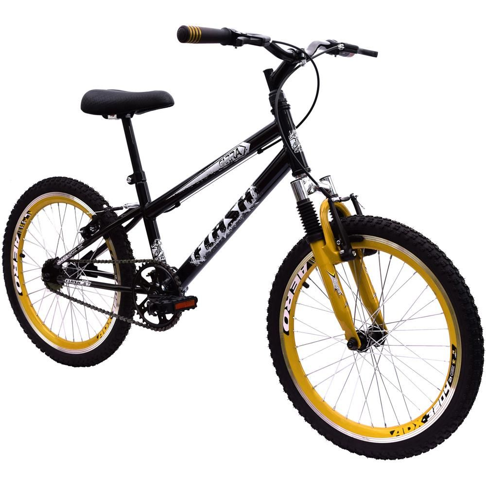 Bicicleta Aro 20 Garra Cross BMX Suspensão Preta e Amarela