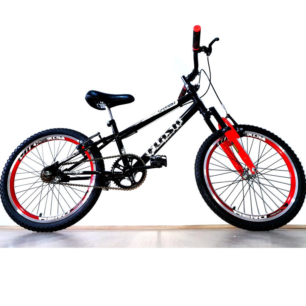 Bicicleta Aro 20 Garra Cross BMX Suspensão Preta e Vermelho