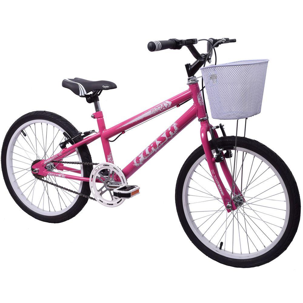 Bicicleta aro 20 Garra Flash Feminina Rosa Com Cesta