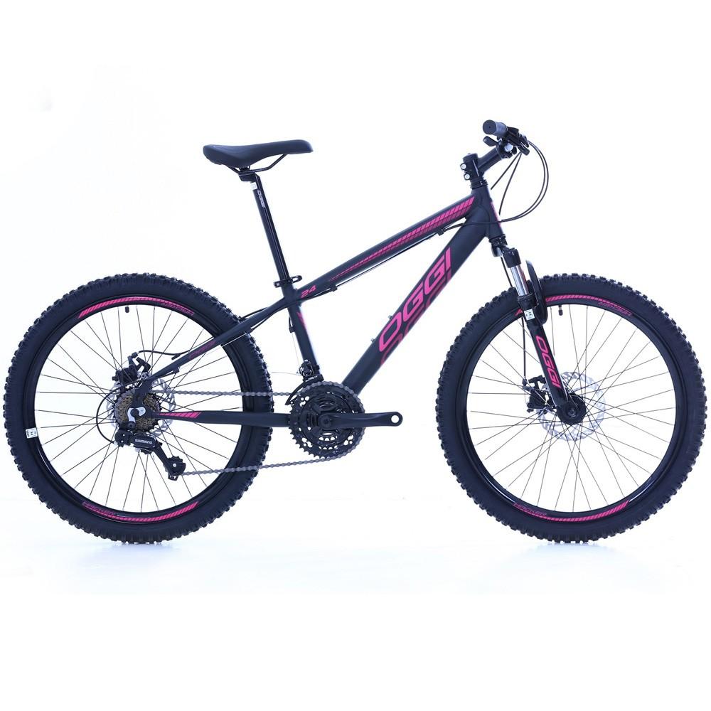 Bicicleta Aro 24 Oggi Hacker 21 Velocidades Tourney Preto/Pink